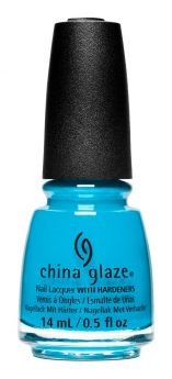 Bottle of China Glaze nail lacquer nail polish in bright blue turquoise-like shade called Shore Feels Good